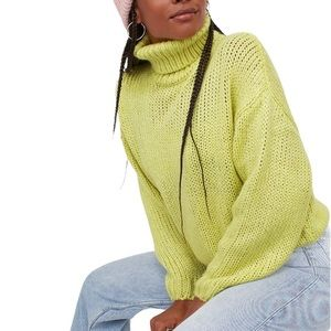 Divided by H&M Fluro Polo Neck Chunky Knit Jumper